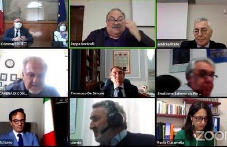"""CASERTACE - CAMERA DI COMMERCIO. Il presidente De Simone in conference-web: """"Gli imprenditori siano presidio di sicurezza sanitaria. Un secondo lockdown sarebbe il colpo di grazia"""""""